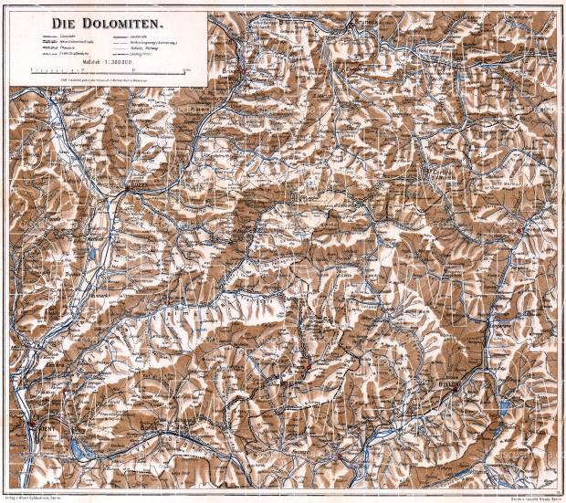 Dolomite Alps (Die Dolomiten). General map, 1911. Use the zooming tool to explore in higher level of detail. Obtain as a quality print or high resolution image