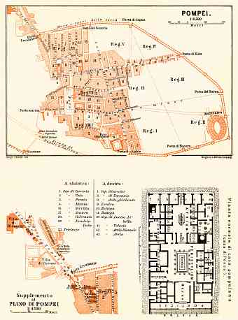 Pompei (Pompeii) general plan with typical street level inset plan, 1898