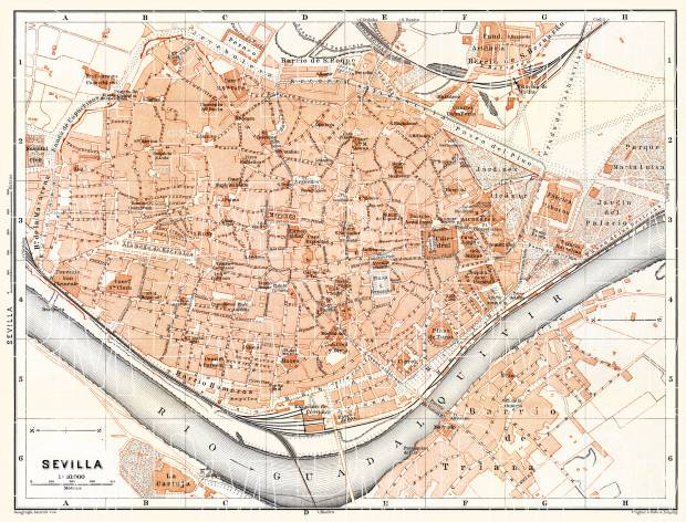 Old map of Seville Sevilla in 1899 Buy vintage map replica poster