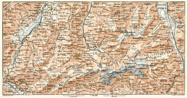 Engelberg and environs map, 1909. Use the zooming tool to explore in higher level of detail. Obtain as a quality print or high resolution image