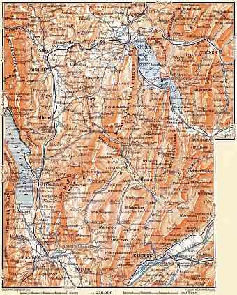 Bauges Mountains map, 1900