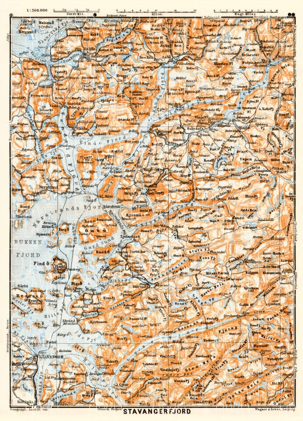 Stavangerfjord map, 1910. Use the zooming tool to explore in higher level of detail. Obtain as a quality print or high resolution image