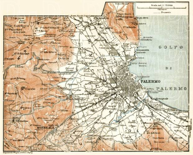 Palermo environs map, 1912. Use the zooming tool to explore in higher level of detail. Obtain as a quality print or high resolution image
