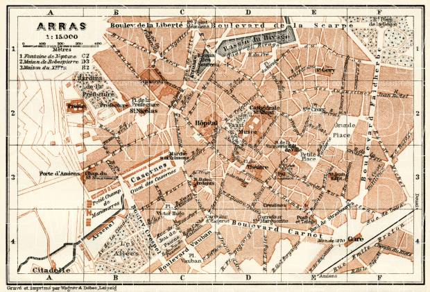 Arras city map, 1913. Use the zooming tool to explore in higher level of detail. Obtain as a quality print or high resolution image