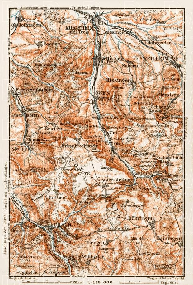 Map of the Southern environs of Kirchheim unter Teck, 1909. Use the zooming tool to explore in higher level of detail. Obtain as a quality print or high resolution image