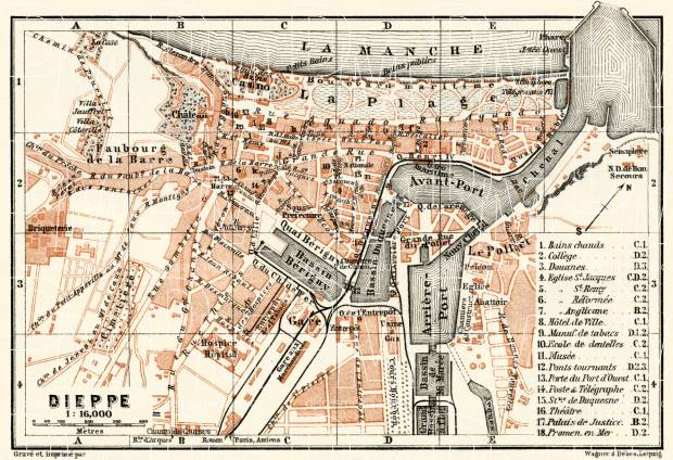 Dieppe city map, 1913. Use the zooming tool to explore in higher level of detail. Obtain as a quality print or high resolution image