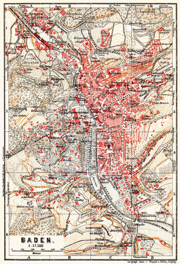 Baden (Baden-Baden) city map, 1905. Use the zooming tool to explore in higher level of detail. Obtain as a quality print or high resolution image