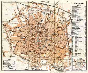 Bologna city map, 1898