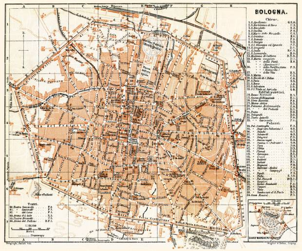 Old map of Bologna in 1898 Buy vintage map replica poster print or