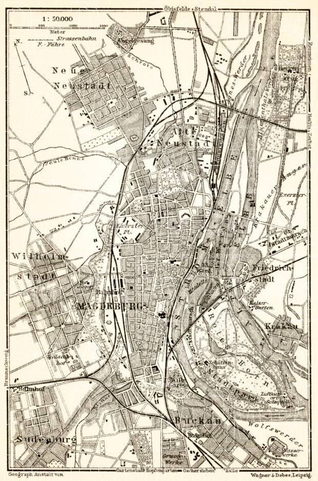 Magdeburg environs map, 1911. Use the zooming tool to explore in higher level of detail. Obtain as a quality print or high resolution image
