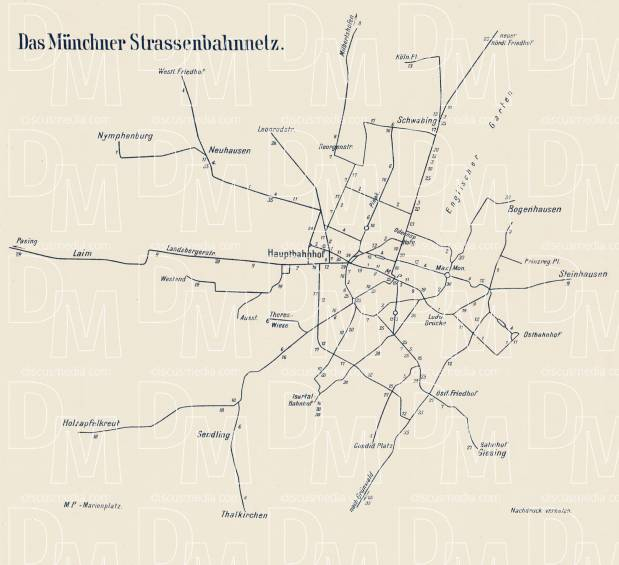 München (Munich) tram network diagram, 1910. Use the zooming tool to explore in higher level of detail. Obtain as a quality print or high resolution image
