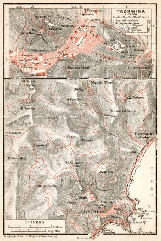 Taormina town plan. Environs of Taormina map, 1912. Use the zooming tool to explore in higher level of detail. Obtain as a quality print or high resolution image