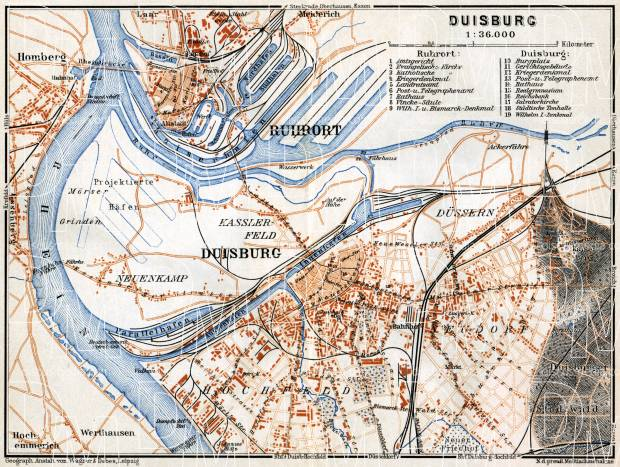 Old map of Duisburg in 1905 Buy vintage map replica poster print or