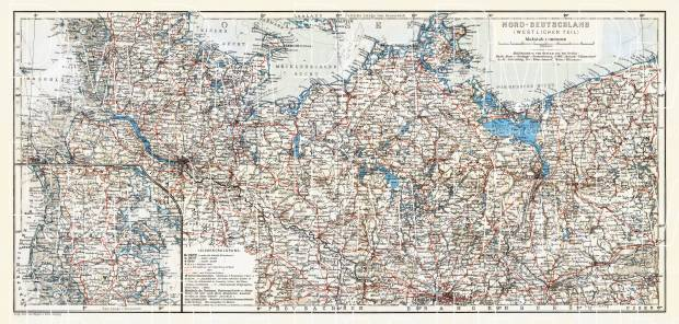 Germany, western provinces of the northwestern part (with Schleswig). General map, 1906. Use the zooming tool to explore in higher level of detail. Obtain as a quality print or high resolution image