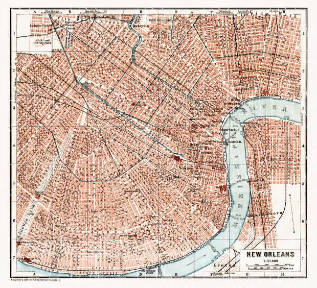 New Orleans city map, 1909. Use the zooming tool to explore in higher level of detail. Obtain as a quality print or high resolution image