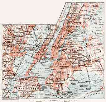 Map of the Nearer Environs of New York, 1909