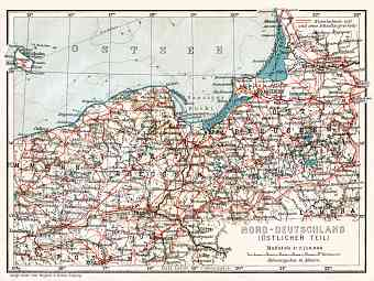 Germany, northeastern regions (including East Prussia). General map, 1906