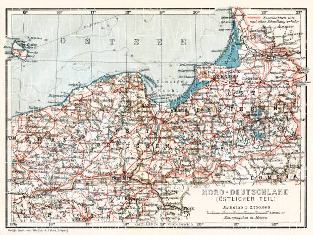 Germany, northeastern regions (including East Prussia). General map, 1906. Use the zooming tool to explore in higher level of detail. Obtain as a quality print or high resolution image