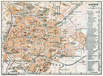 Aachen city map, 1906