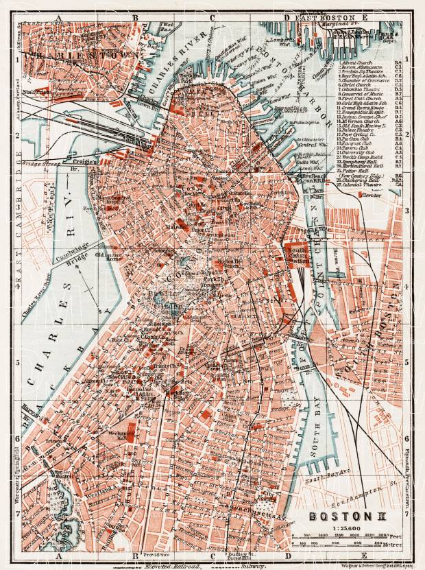 Boston city map, 1909 (Boston II: Centre). Use the zooming tool to explore in higher level of detail. Obtain as a quality print or high resolution image