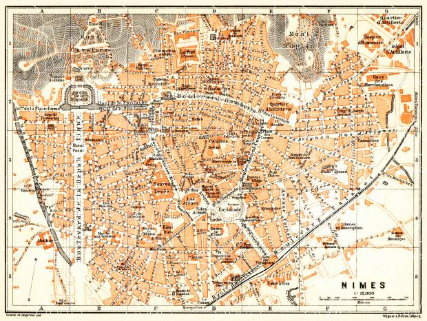 Nîmes city map, 1900. Use the zooming tool to explore in higher level of detail. Obtain as a quality print or high resolution image