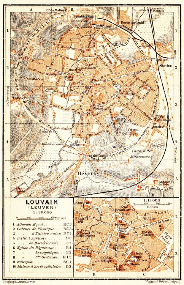 Old map of Louvain Leuven in 1904 Buy vintage map replica poster