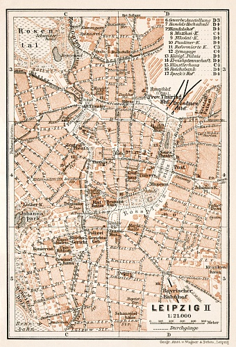 Leipzig, city centre map, 1911