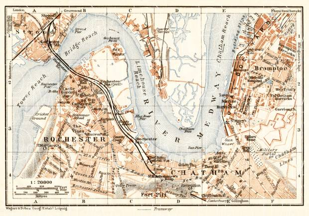 Medway map: Rochester, Chatham and Strood, 1906. Use the zooming tool to explore in higher level of detail. Obtain as a quality print or high resolution image