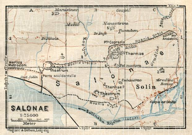 Salonae (Solin, Salona) city map, 1929. Use the zooming tool to explore in higher level of detail. Obtain as a quality print or high resolution image