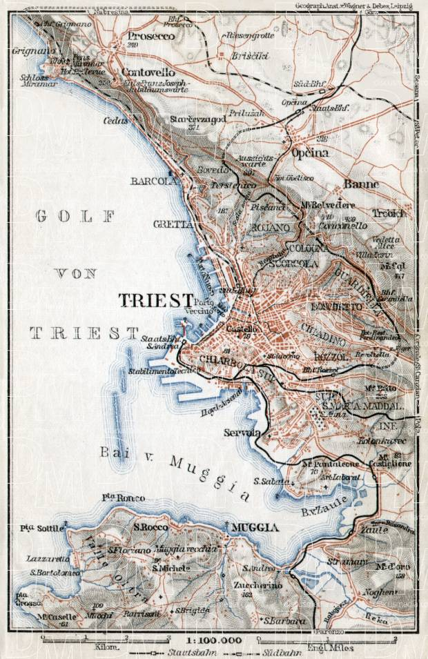 Triest (Trieste) and environs map, 1910. Use the zooming tool to explore in higher level of detail. Obtain as a quality print or high resolution image