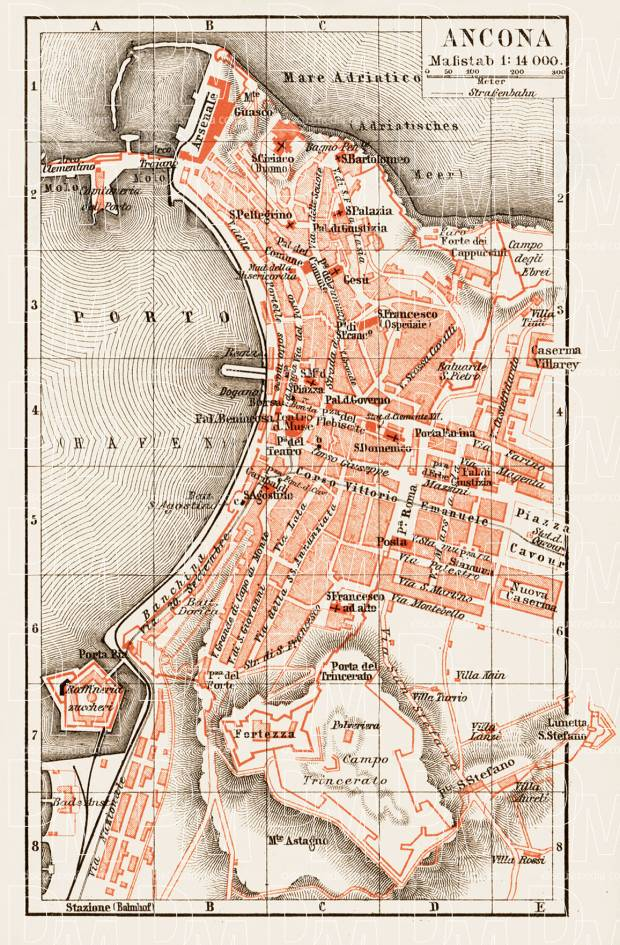 Ancona city map, 1903. Use the zooming tool to explore in higher level of detail. Obtain as a quality print or high resolution image