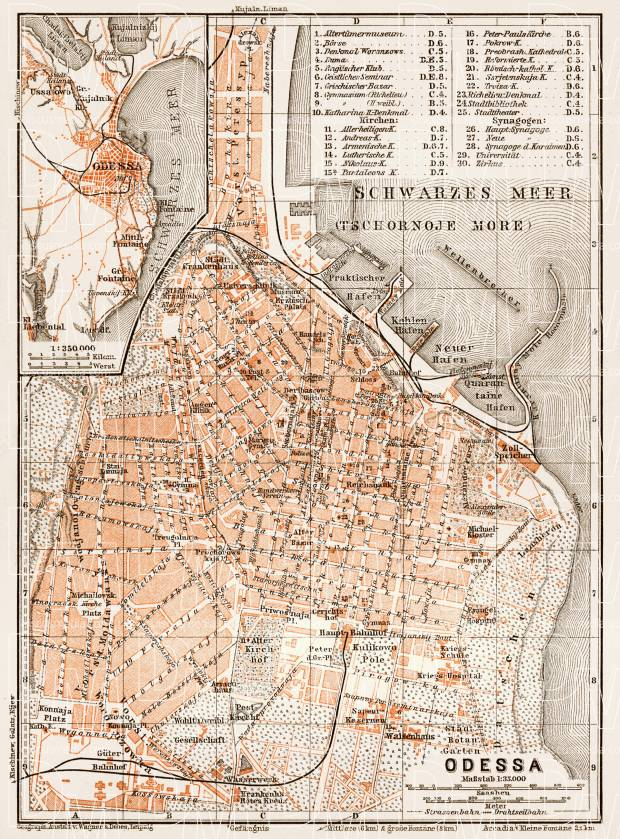 Odessa (Одесса, Odesa) city map, 1914. Use the zooming tool to explore in higher level of detail. Obtain as a quality print or high resolution image