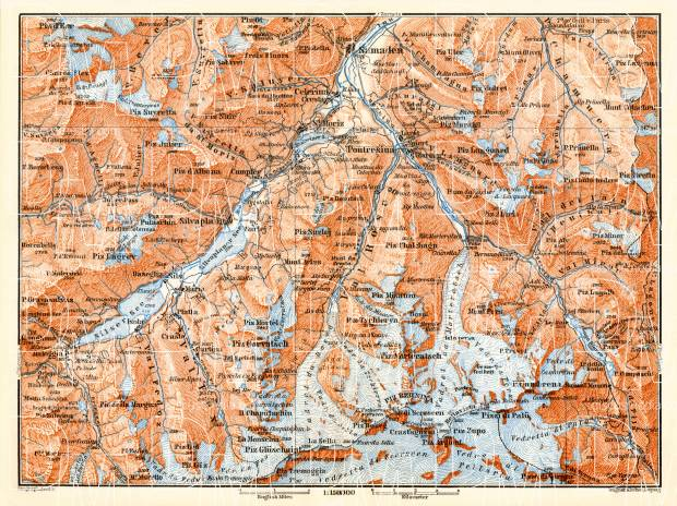 Pontresina and environs map, 1897. Use the zooming tool to explore in higher level of detail. Obtain as a quality print or high resolution image