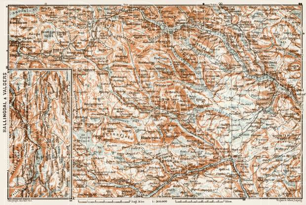 Hallingdal and Valders area map, 1931. Use the zooming tool to explore in higher level of detail. Obtain as a quality print or high resolution image