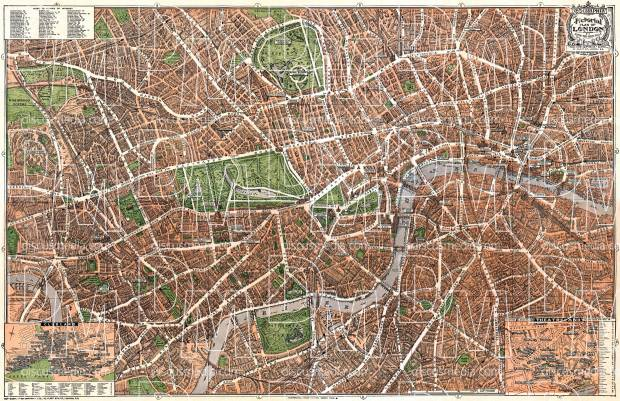 London illustrated (pictorial) city map, about 1910. Use the zooming tool to explore in higher level of detail. Obtain as a quality print or high resolution image