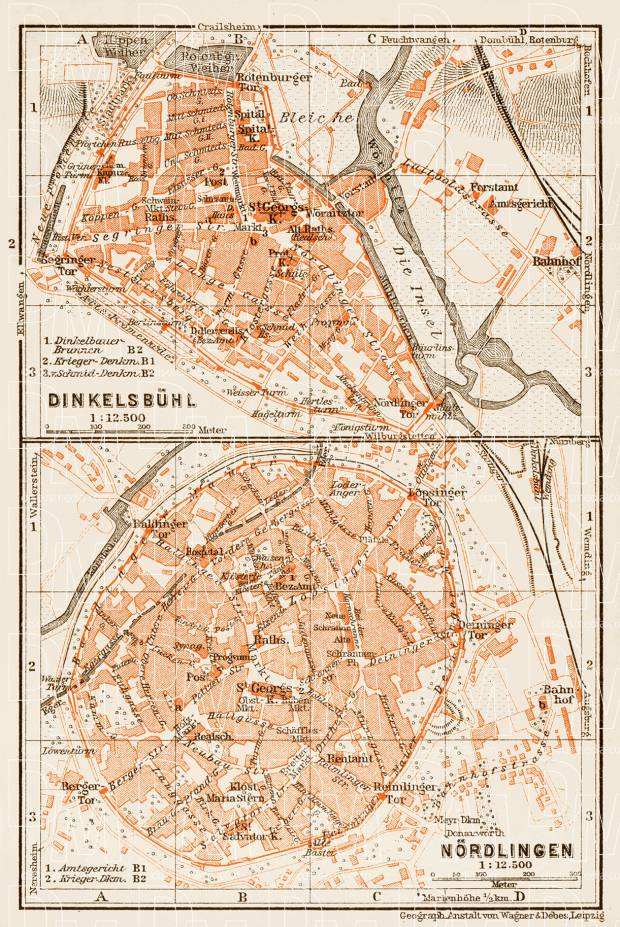 Dinkelsbühl, city map. Nördlingen city map, 1909. Use the zooming tool to explore in higher level of detail. Obtain as a quality print or high resolution image