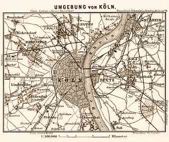 Cologne (Köln) and environs map, 1887