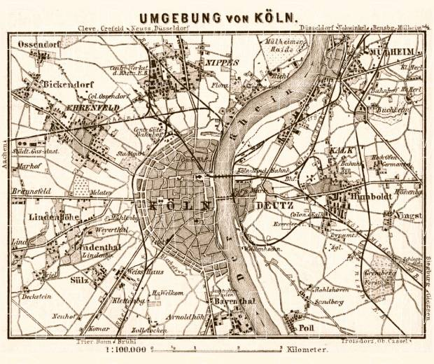 Cologne (Köln) and environs map, 1887. Use the zooming tool to explore in higher level of detail. Obtain as a quality print or high resolution image