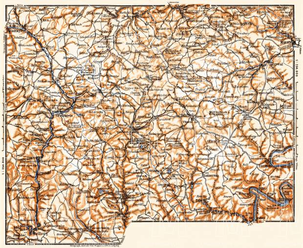Volcanic Eifel Mountains map, 1905. Use the zooming tool to explore in higher level of detail. Obtain as a quality print or high resolution image