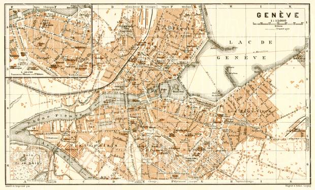 Geneva (Genf, Genève) city map, 1909. Use the zooming tool to explore in higher level of detail. Obtain as a quality print or high resolution image