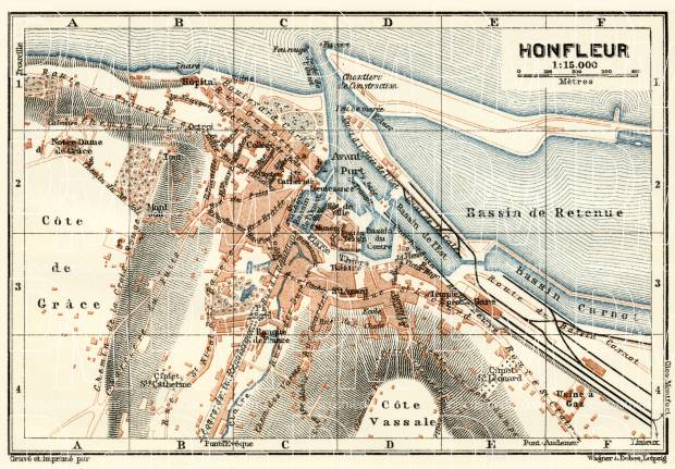 Honfleur city map, 1913. Use the zooming tool to explore in higher level of detail. Obtain as a quality print or high resolution image