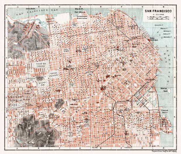 photo about Printable Maps of San Francisco identify San Francisco metropolis map, 1909