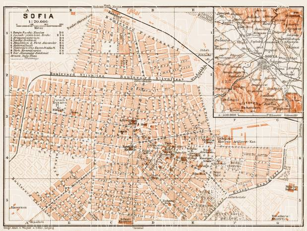Sofia (София) city map, 1914. Use the zooming tool to explore in higher level of detail. Obtain as a quality print or high resolution image