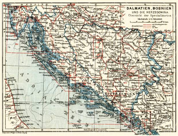 Dalmatia, Bosnia and Herzegovina. General map, 1911. Use the zooming tool to explore in higher level of detail. Obtain as a quality print or high resolution image