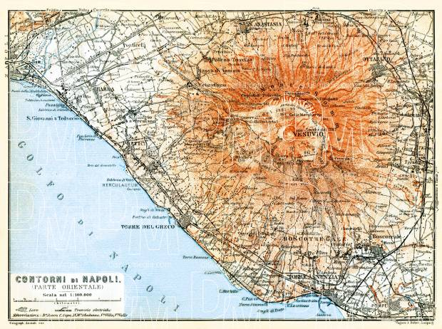 Old Map Of East Vicinity Of Naples Napoli With Mount Vesuvius In - Mount vesuvius map