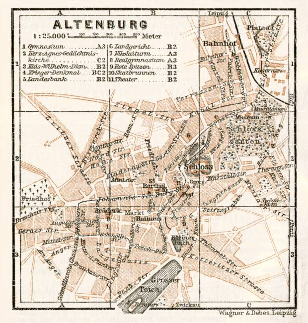 Altenburg city map, 1911. Use the zooming tool to explore in higher level of detail. Obtain as a quality print or high resolution image
