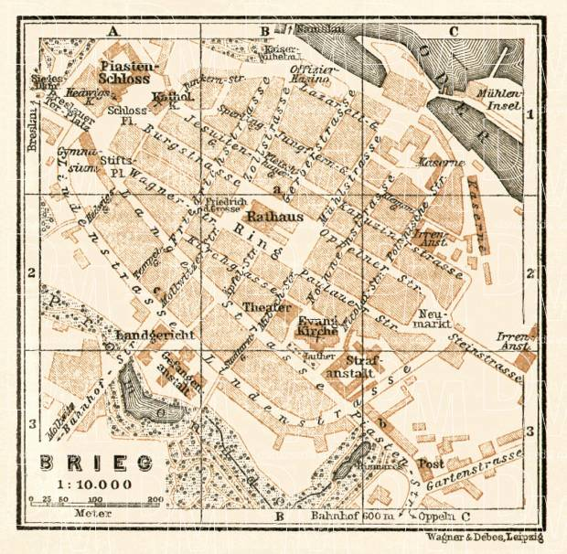 Brzeg (Brieg) town plan, 1911. Use the zooming tool to explore in higher level of detail. Obtain as a quality print or high resolution image