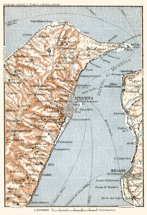 Old map of Messina vicinity in 1912 Buy vintage map replica