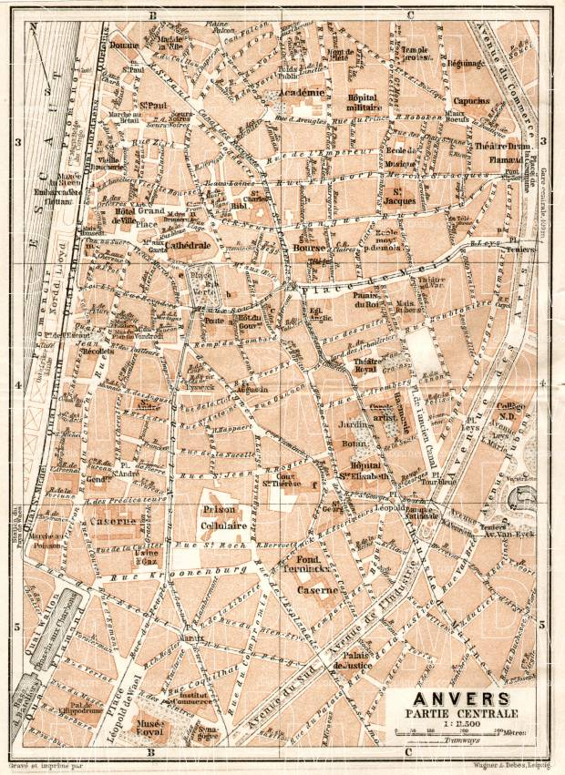 Antwerp (Antwerpen, Anvers), city centre map, 1909. Use the zooming tool to explore in higher level of detail. Obtain as a quality print or high resolution image
