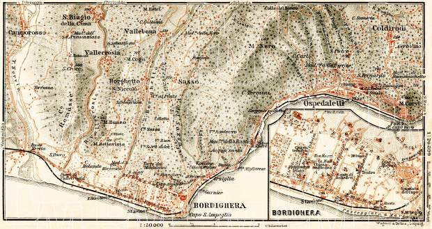 Bordighera town plan. Bordighera environs map, 1908. Use the zooming tool to explore in higher level of detail. Obtain as a quality print or high resolution image